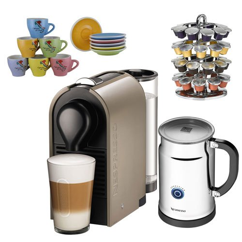 Nespresso U bundle + cups + holder