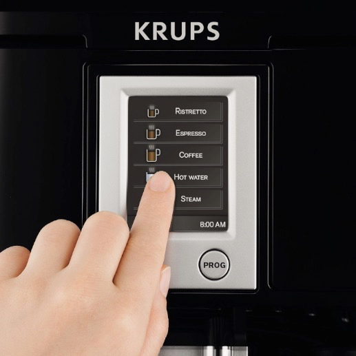 KRUPS EA8442 Falcon Fully Automatic Espresso Machine with Latte Tray and Built-in Conical Burr Grinder_