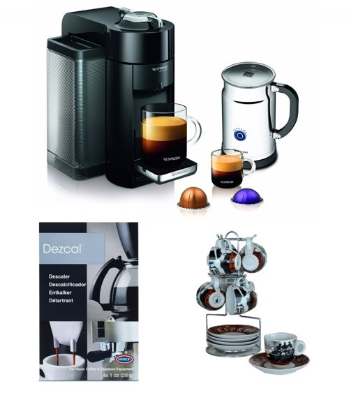 Nespresso Deluxe Coffee Maker (Black) w_ Aeroccino + Frother & Accessory Bundle