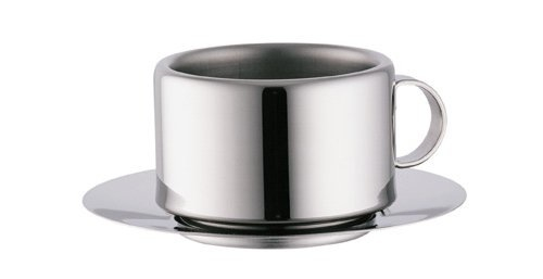 STO Stainless Steel Double Wall Coffee Cups with Saucers and Spoons